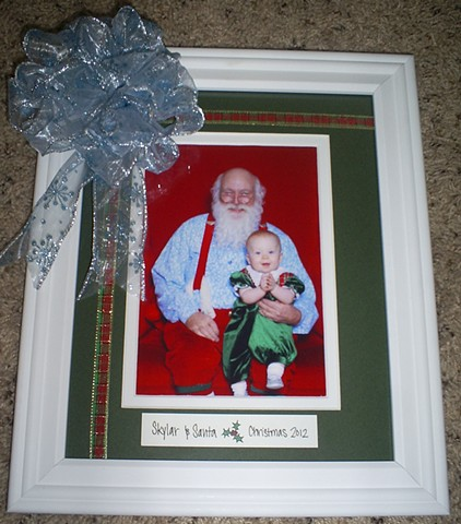 christmas photo baby with santa in custom frame
