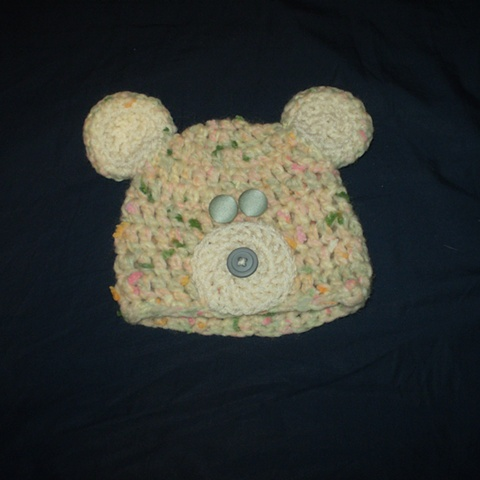 hand-crocheted bear baby hat