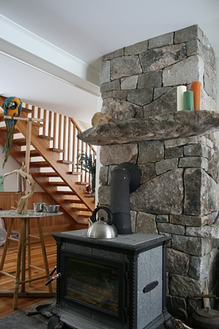 chimney for woodstove and flamed granite hearth