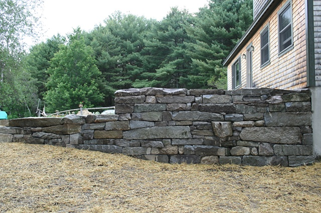 granite retaining wall w/ stiles