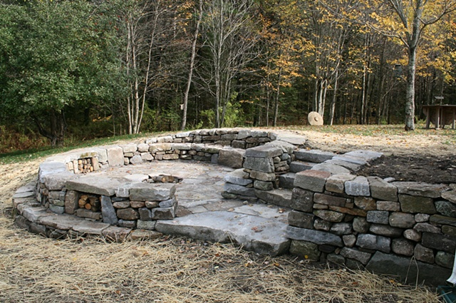 firepit with patio and double intersecting walls, steps, more, drylaid granite and fildstone