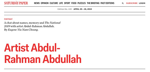 The Saturday Paper - Artist Abdul-Rahman Abdullah