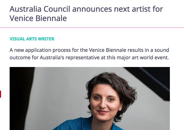 Artshub - Australia Council announces next artist for Venice Bienniale