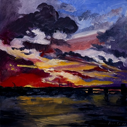 dogfight clouds newburyport massachusetts sky painting merrimack river bridge salisbury new england dan fionte painter