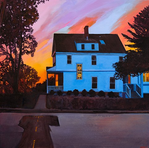 An oil painting of a house in Andover, Massachusetts, by artist Dan Fionte.