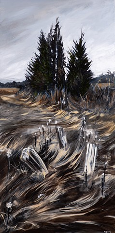 An oil painting of a cedar grove in an area of the great marsh called Little River Pasture, near Old Town Hill in Newbury, Massachusetts, not far from Newburyport, Massachusetts