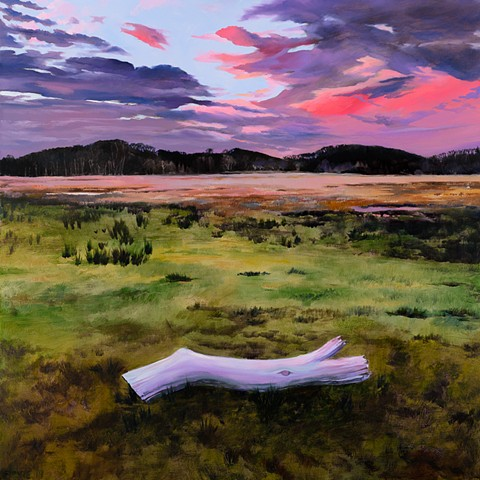An oil painting of a sunset over the trampled and grazed cow pastures of Colby Farm, along Scotland Rd in Newbury, Massachusetts