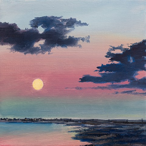 An oil painting of a full moon rise over Joppa Flats and Plum Island, from Newburyport. Plum Island, Massachusetts.