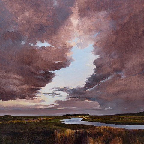 Dan Fionte's painting of The Great Marsh, from the Plum Island Turnpike, Newbury, Massachusetts.