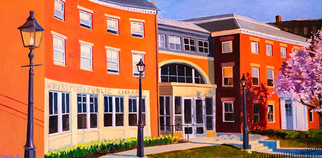 A commissioned oil painting of Newburyport Public Library, Newburyport, Massachusetts.