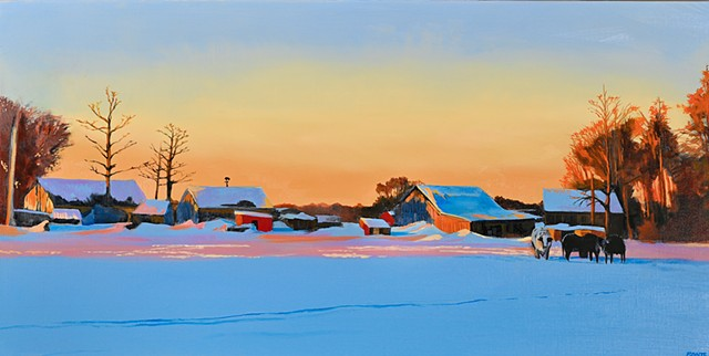 An oil painting of a winter scene at Colby Farm in Newbury, Massachusetts, near Newburyport, by Daniel Fionte