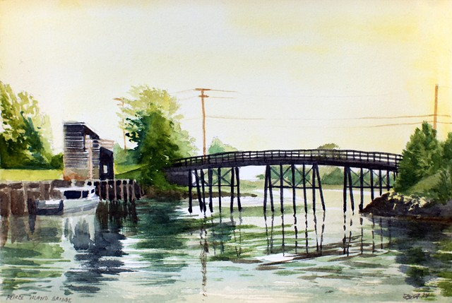 Peirce Island Bridge Portsmouth NH New Hampshire watercolor paintings painting by artist Dan Fionte Piscataqua river summer boat fishing
