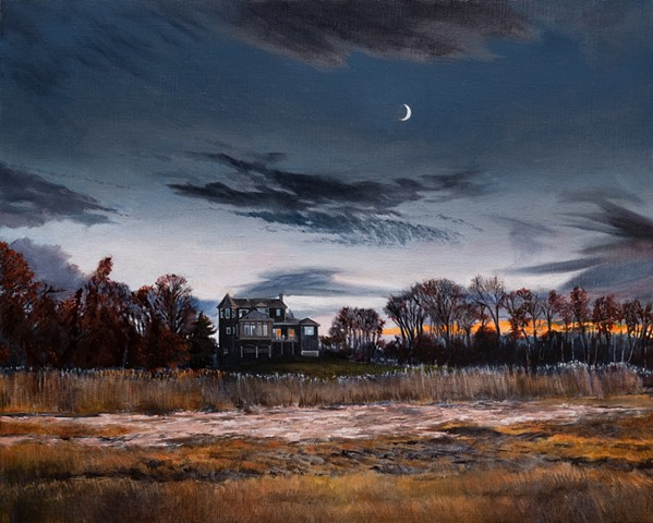 An oil painting from Dan Fionte's the Great Marsh Series, from Newbury, Massachusetts, not far from Newburyport.