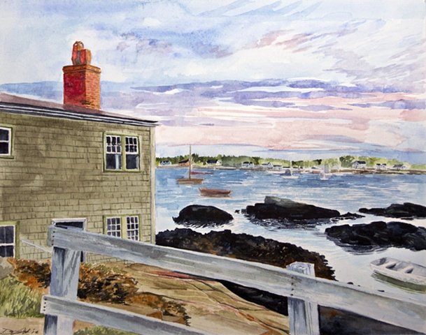 Dan Fionte Marblehead Harbor Neck Front Street Cove Fort Sewall Watercolor