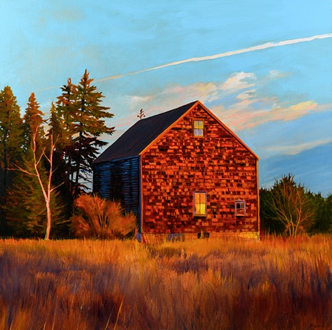 An oil painting of an historic barn in Newburyport, Massachusetts, situated in the middle of a large industrial park.