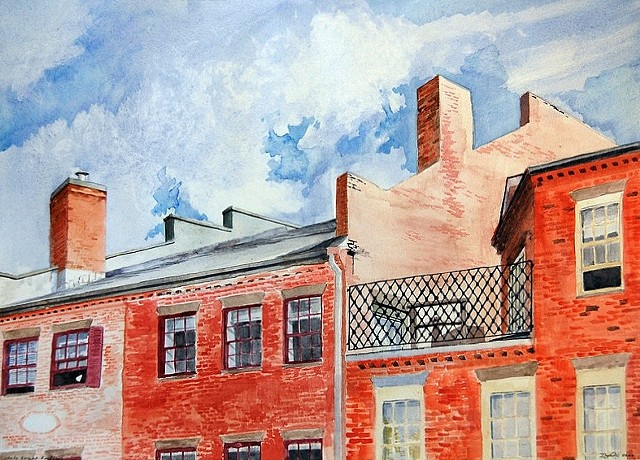 Watercolor of the rooftops of State Street in Newburyport Massachusetts by Dan Fionte