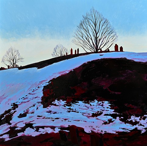 An oil painting of a winter scene featuring Old Hill Burying Ground in Newburyport, Massachusetts