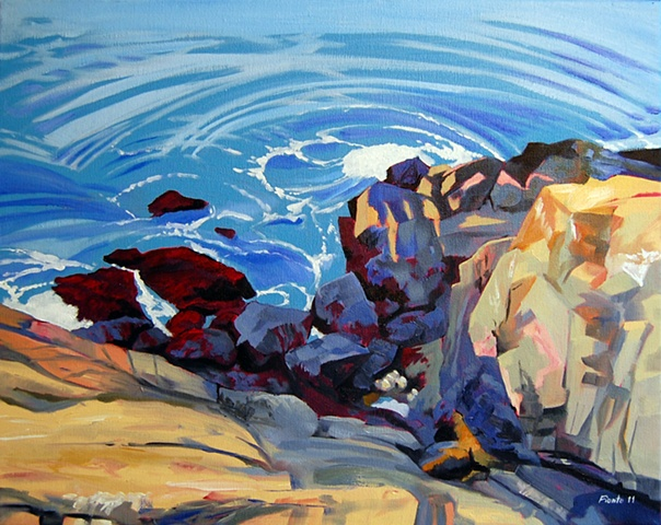 This painting is inspired by the rocks, sea, and harbor off of Fort Sewall in Marblehead Massachusetts