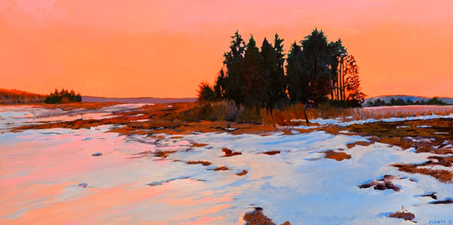 An oil painting of a winter scene with golden hour light in an area of the great marsh called Little River Pasture, near Old Town Hill in Newbury, Massachusetts, not far from Newburyport, Massachusetts