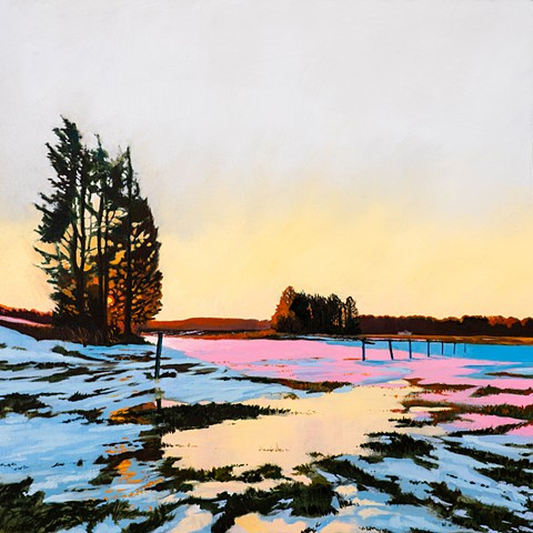 An oil painting of a winter scene with a frozen flood in an area of the great marsh called Little River Pasture, near Old Town Hill in Newbury, Massachusetts, not far from Newburyport, Massachusetts