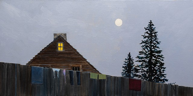 A semi surrealist painting of the essence of a New England summer featuring a colonial house with laundry hung over the fence on a full moon night.