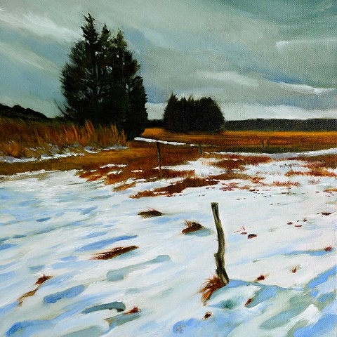 An oil painting of The Great Marsh at Little River Pasture behind Old Town Hill in Newbury, Massachusetts, near Newburyport, by Daniel Fionte
