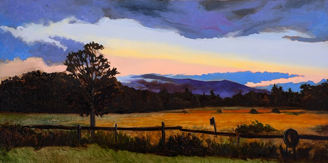 An oil painting of thunder clouds passing over the white mountains and lakes region of New Hampshire, painted from the memory of a drive through Moultonborough, New Hampshire.