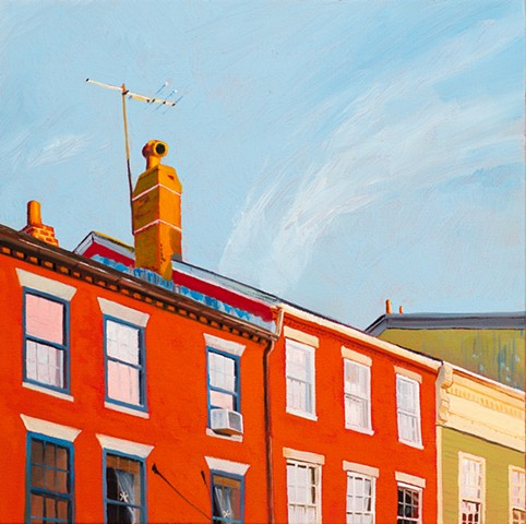 A commissioned oil painting of State St, Newburyport, Massachusetts.