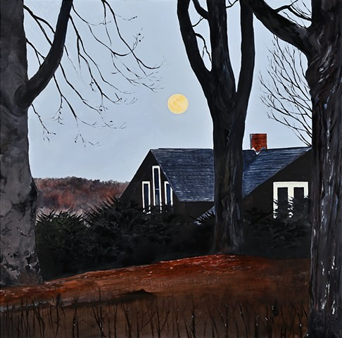 An oil painting of the full moon setting over the Shawsheen valley from Carmel hill in Andover, Massachusetts.