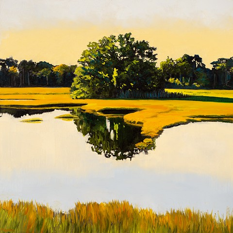 A landscape painting of a New England scene of the great marsh in Rowley Massachusetts, just beyond the Newbury town line, and not far from the small city of Newburyport, Massachusetts.