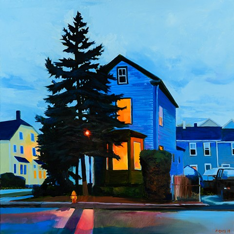 An oil painting of a night scene in Newburyport, Massachusetts.