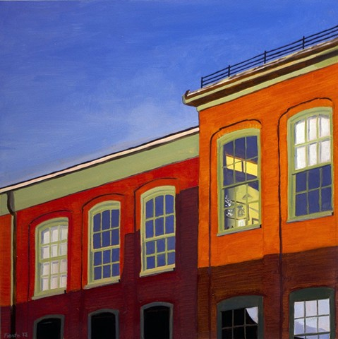 Dan Fionte Newburyport Massachusetts oil on panel Plato's Cave painting state street roof top