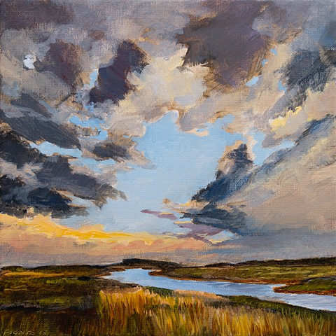 An oil painting of Plumbush Creek, off the Plum Island Turnpike, near Newburyport. Plum Island, Massachusetts.