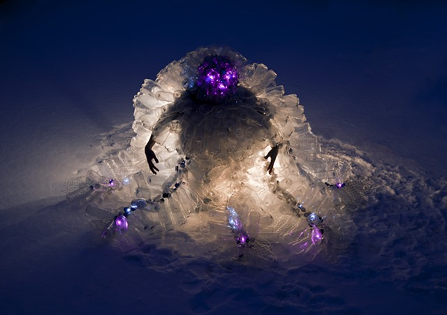 dominique paul, photo, plastic bottles, recycled plastic. lit structure, organic, igloo
