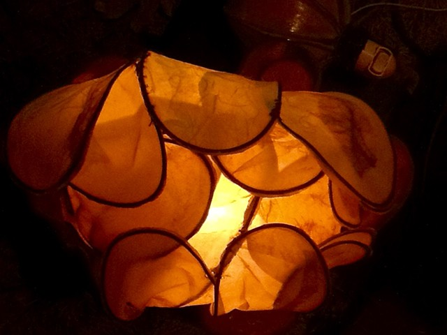 Local, pit fired, micacious clay , table light, paper lanterns