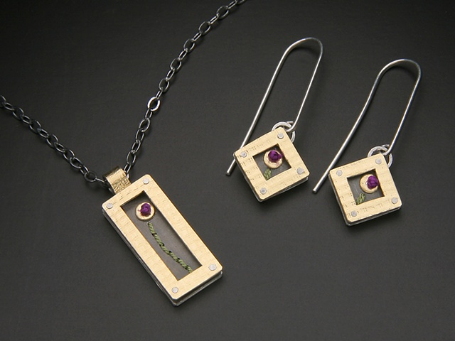 Rectangle Poppy Necklace,  Diamond Poppy Earrings