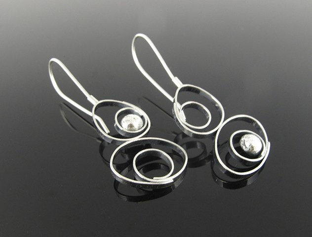 Sterling Silver Modern Asymmetrical Earrings