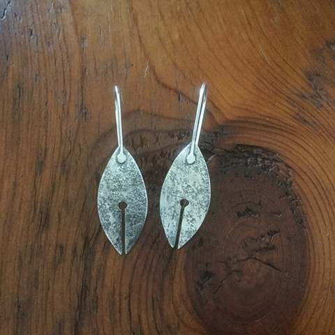 Sterling silver earrings vesicas with line