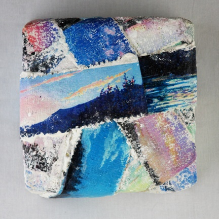 Mixed media--digital images of original acrylic landscapes printed on plaster bandage with text.
