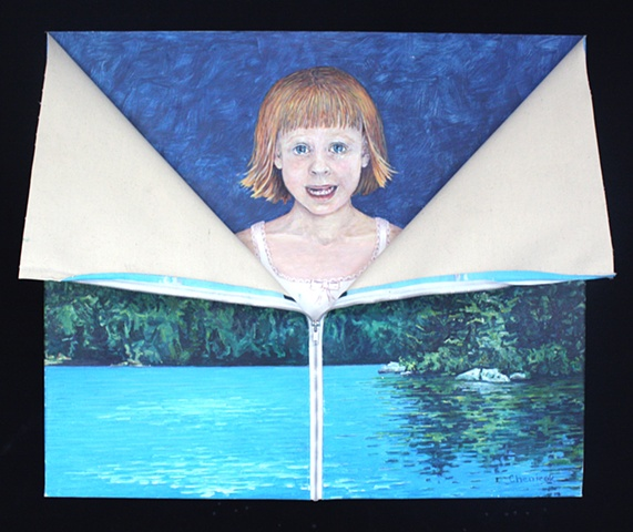 Mixed media--oil on canvas landscape with zipper; acrylic on canvas child crying.