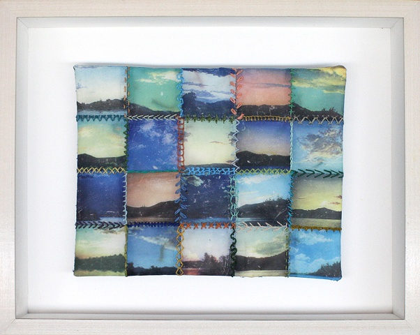 Mixed media--xerographic transfer of multiple original acrylic landscapes on stretched silk with embroidery floss in hinged and clasped box frame.