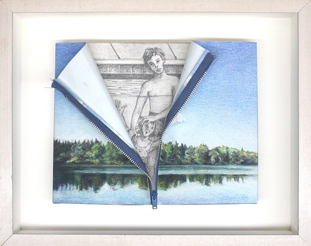 Mixed media--pastel on stretched paper with zipper; graphite on board in hinged and clasped box frame.