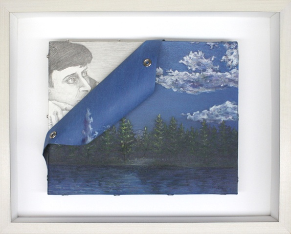 Mixed media--pastel on paper landscape with snaps; graphite on board in hinged and clasped box frame.