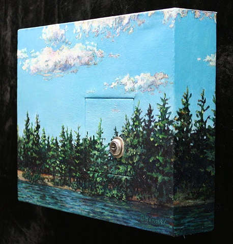 Mixed media: acrylic landscape with inset hinged door; utility lock; no key.