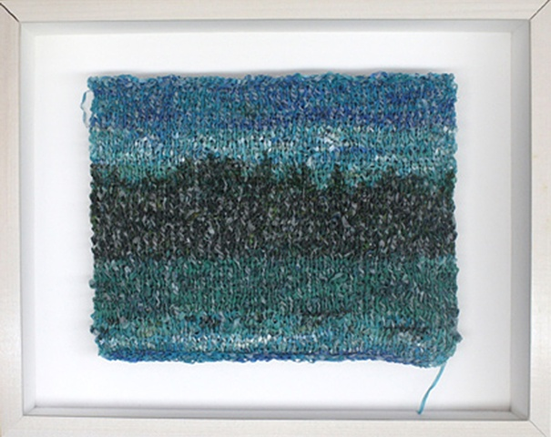 Mixed media--knit strips of xerographic transfer of original acrylic landscape on silk in hinged and clasped box frame.
