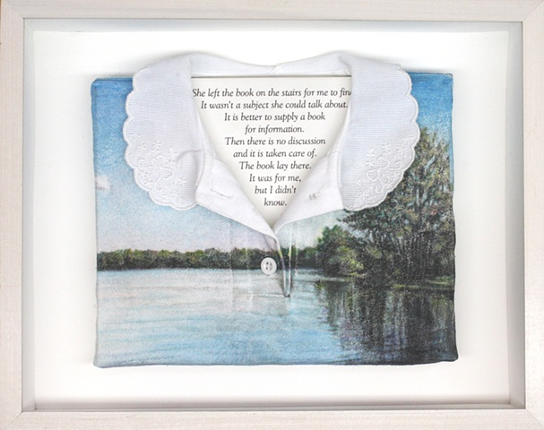 Mixed media--transfer onto cloth of original pastel landscape; text in hinged and clasped box frame.
