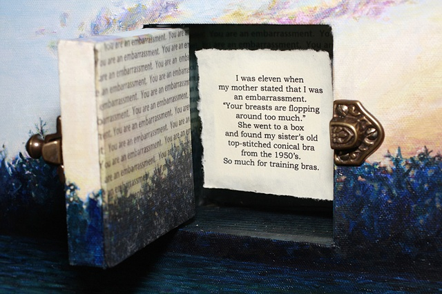 Mixed media--acrylic landscape on canvas; inset hinged door with slide latch; text on paper inside.