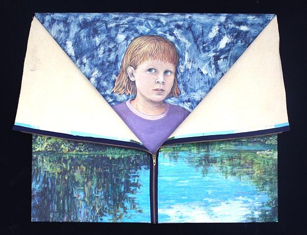 Mixed media--acrylic on canvas landscape with zipper; acrylic on board.