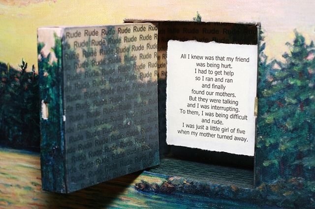 Acrylic landscape on canvas with inset hinged door with lock, key and chain. Text mounted behind door.