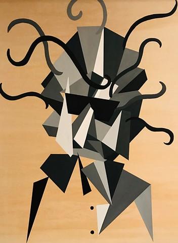 Painting Bob Dylan Rock Icon Musician Geometric Painting Acrylic Portrait by John Jodzio